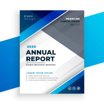 abstract blue modern business annual report design