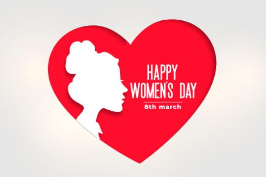 happy womens day banner with face and heart