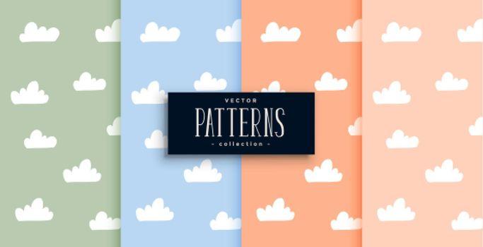 cute clouds pattern set in pastel colors