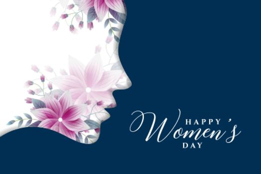 happy womens day greeting card in flower style