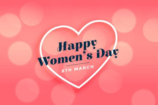 happy womens day heart pink bokeh banner