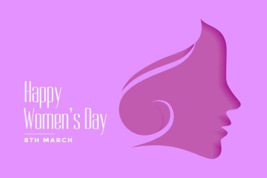 happy womens day purple papercut style background