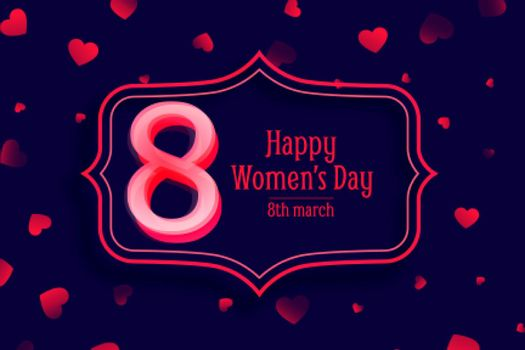 happy womens day red heart decorative banner