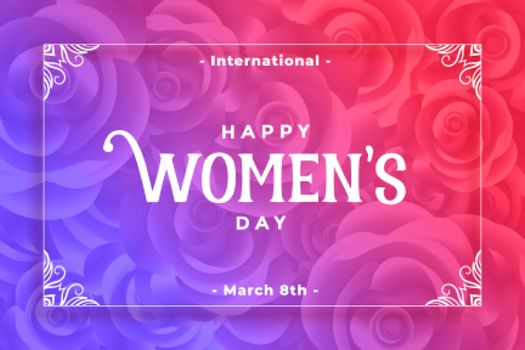 happy womens day flower style vibrant background