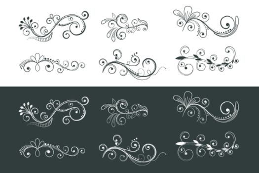 ornamental floral decoration swirl pattern collection design