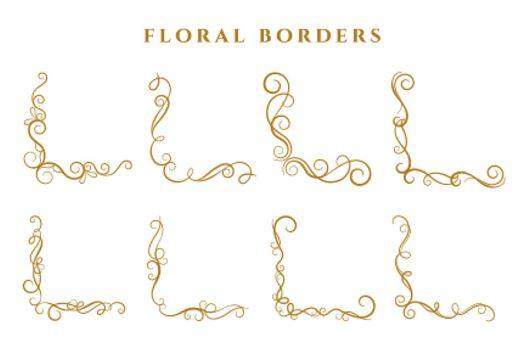 floral corner borders frame collection ornamental design