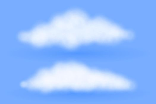 realisitic fluffy clouds on blue background design