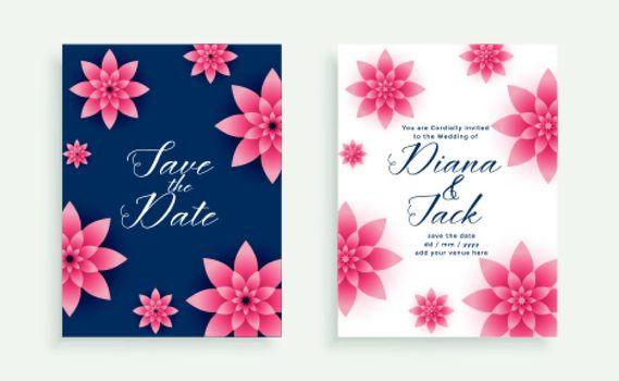 beautiful pink flower wedding invitation card template