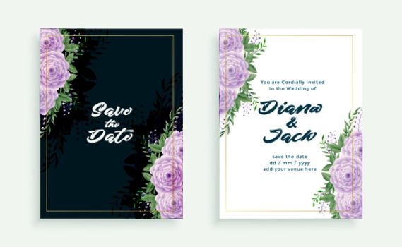 elegant wedding floral invitation card template design