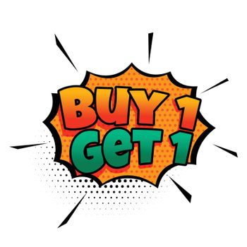 buy one get one comic style sale design