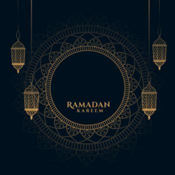 decorative ramadan kareem background with arabic lanterns