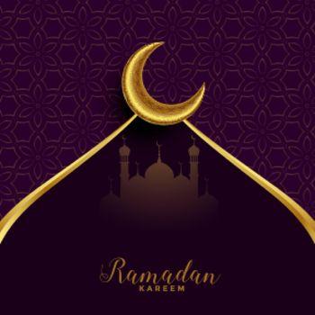 ramadan mubarak festival card with golden moon