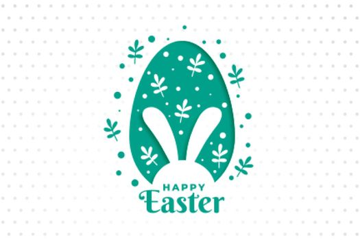 happy easter day leaves and egg design