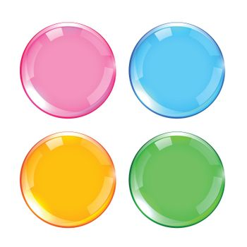 four colors shiny glossy buttons set design