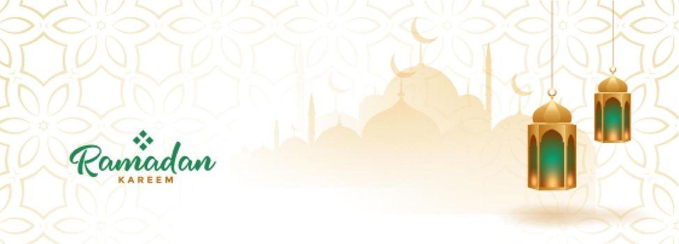 muslim ramadan kareem seasonal banner with hanging lanterns