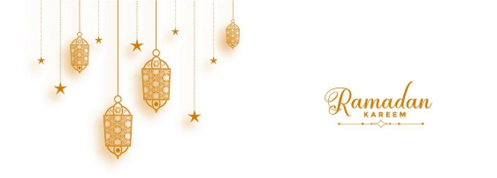 ramadan banner with decorative islamic lanterns