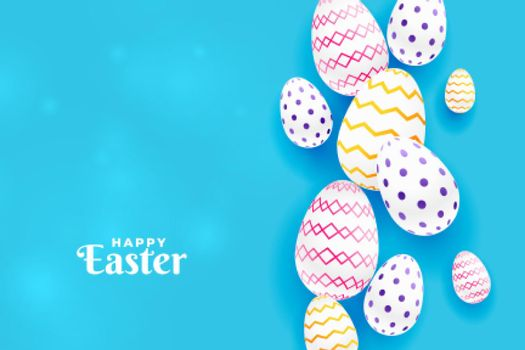 colorful easter pattern egg in blue background