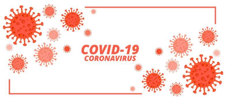 covid-19 novel coronavirus banner with microscopic viruses