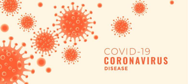 covid-19 coronavirus disease banner with floating viruses