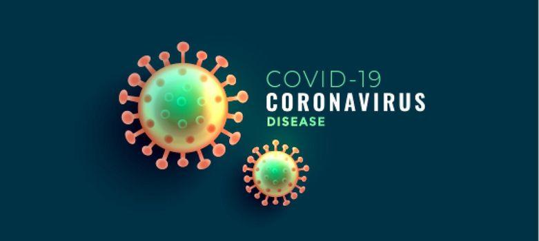 coronavirus covid-19 disease banner with two viruses
