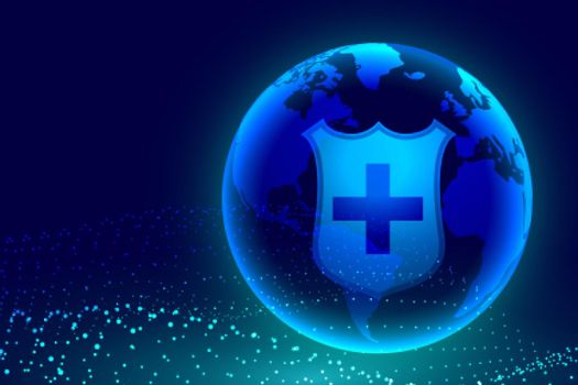 medical shield protecting earth from global crisis