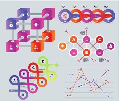 Creative multicolored diagrams set