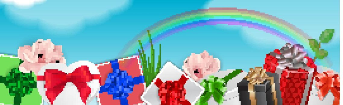 Decorative Element With Gifts and Rainbow