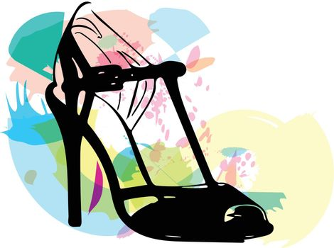 Abstract drawing of high heel female shoes