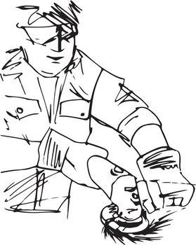 Sketch of man with circular saw
