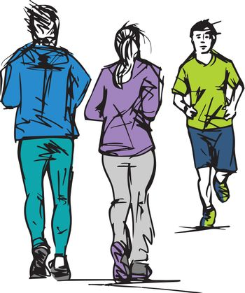 Sketch of Runners Passing Each Other