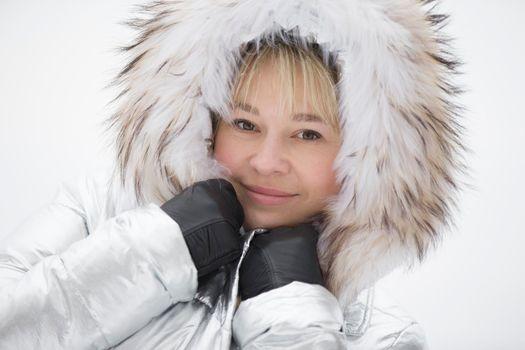Woman in a furry furry hood