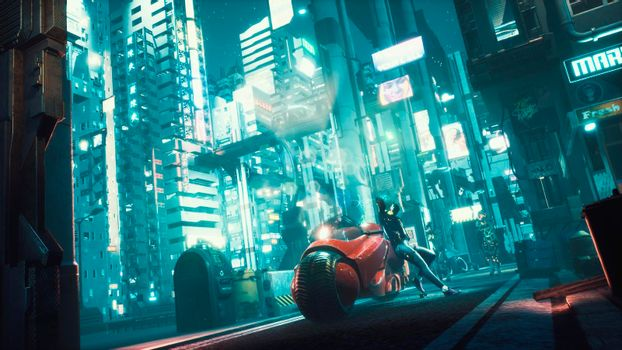 Police robots are slowly approaching the cyber girl standing next to her futuristic motorcycle. View of an future fiction city. Post-apocalyptic cyber world concept.