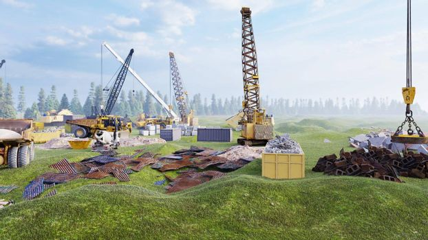 Industrial landscape with cranes and tractors, construction site on a foggy summer day. The concept of the construction.