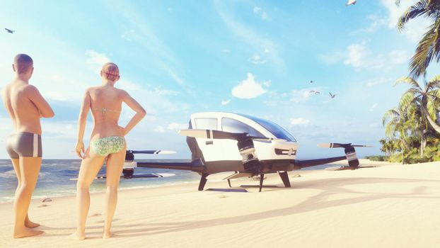 Unmanned passenger air taxi on the beach of a tropical island. The concept of the future driverless taxi.