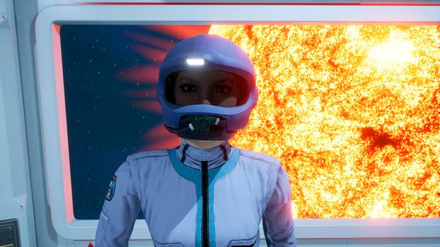 A female astronaut leaves the room of the spacecraft to perform a combat mission.
