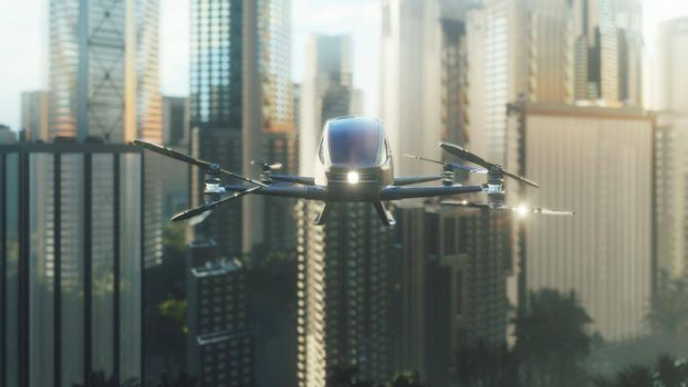 An unmanned passenger drone has flown in to pick up its passenger on a cloudy day. Unmanned air taxi.