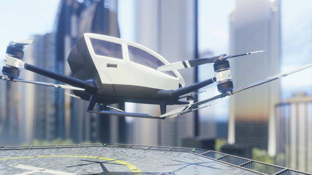 Pilotless passenger air taxi makes a departure for the call of the client. The concept of the future unmanned taxi.