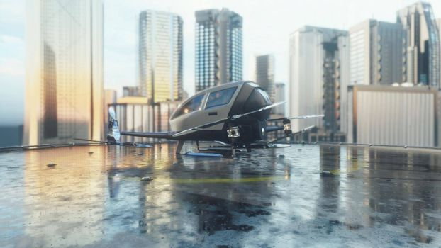 Pilotless passenger drone makes a departure for the call of the client. The concept of the future unmanned air taxi.