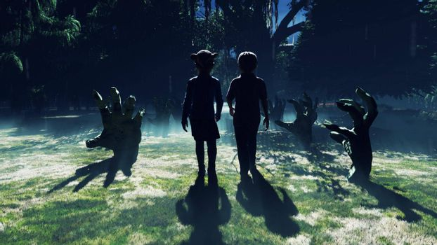 Little children walk through a dark mysterious misty swamp forest landscape. Dead hands reach for them from the ground, steam rises from the swamp, for a Halloween backdrop.