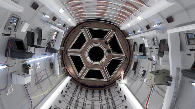 Space Shuttle cabin. Space Shuttle flying in deep space