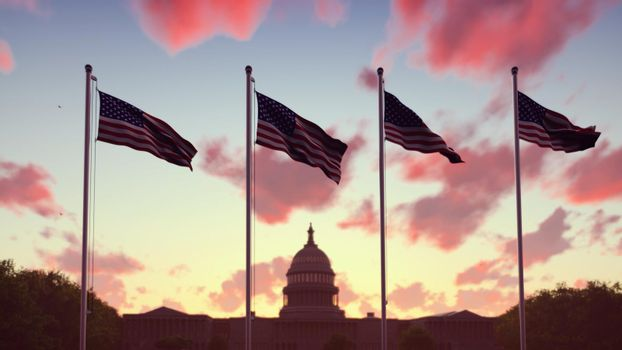 The American flags flutters in the wind on a sunset against the blue sky and the Capitol. The symbol of America and the American national holiday.