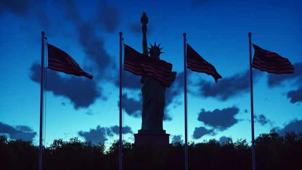 The American flags flutters in the wind on a sunrise against the blue sky and the Statue of Liberty. The symbol of America and the American national holiday.