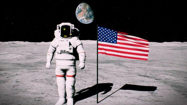 Astronaut on the moon near the us flag salutes.