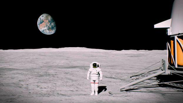 HD Astronaut on the moon near the lander salutes.