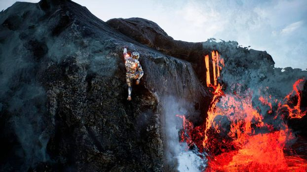 Astronaut escapes from the crater of the volcano. Super realistic concept.