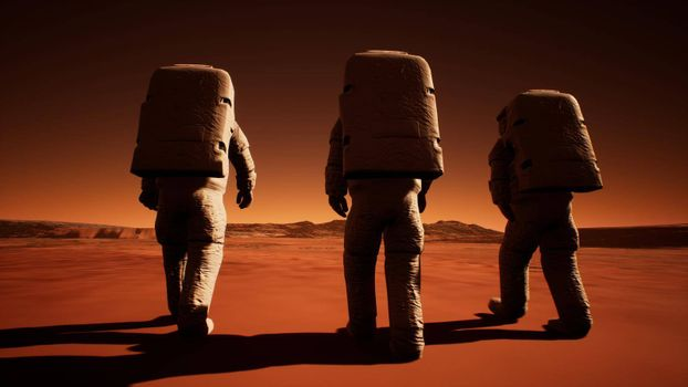 Three astronauts in spacesuits confidently walk on Mars in search of life