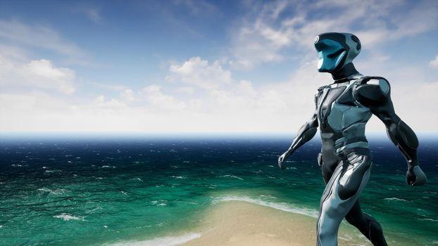 Astronaut on beatiful alien planet