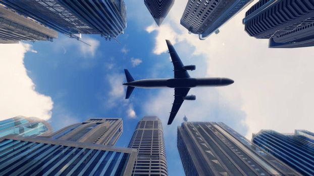 Airplane flies over a modern megapolis at sunrise