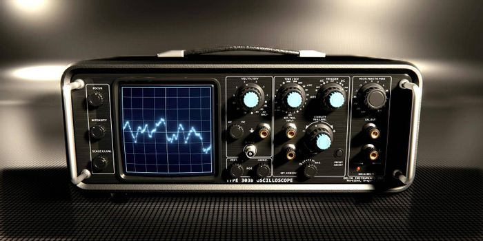 oscilloscope on black metal table 3d illustration