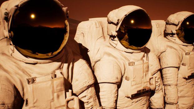 A detachment of astronauts preparing to explore the planet Mars.